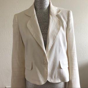 Ellen Tracy Beige Flax Linen Button Blazer